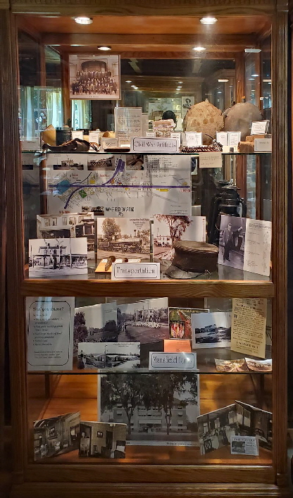 Civil War artifacts, Mansfield's railroad and farming history, and pictures of the Mansfield Tavern.